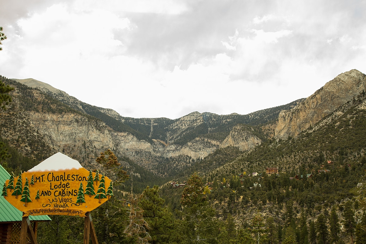 Mt Charleston, about 45 minutes from the Las Vegas strip, rises nearly 12,000 feet.