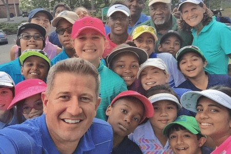 Matt Ginella with students and staff of the Youth on Course program