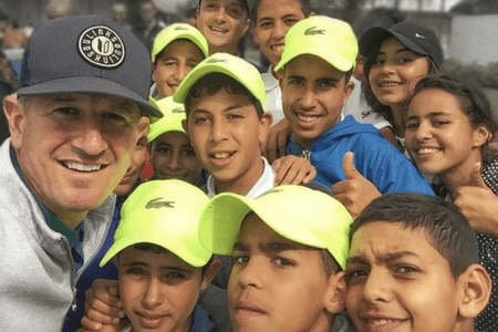 Matt Ginella with students of the Birdies program in Morocco
